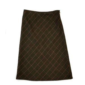 LOFT Aline Wool Blend Plaid Skirt Size 8